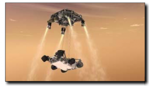 "This artist's concept shows the ""sky crane"" lowering NASA's Curiosity rover to the Martian surface."